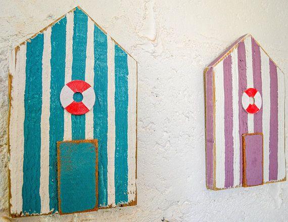 Cornish Seaside Beach Hut Wooden Wall Art Hand Painted Salvaged