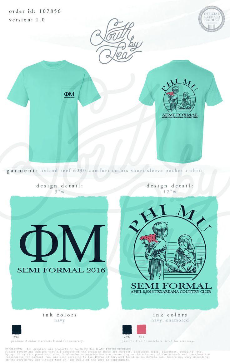 Phi Mu | Semi Formal | Vintage T-Shirt Design | Formal T-Shirt Design | South by…