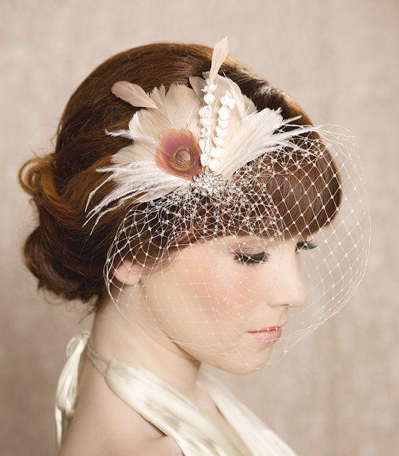 Ivory Blush Bridal Head Piece Feather Fascinator por GildedShadows, $55,00