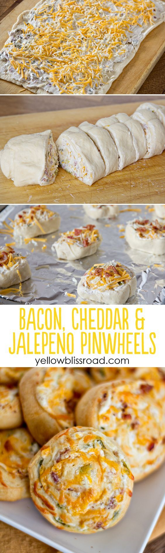 Bacon, Cheddar & Jalapeño Pinwheels.. makes me think of bacon wrapped jalpenos