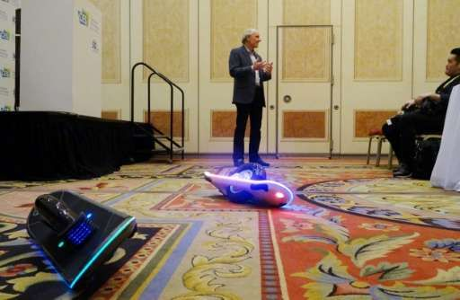 Hoverboards make comeback at Vegas electronics show.  Inventor and CEO of Hoverboard Technologies, Robert Bigler unveils his GeoBlade transporter at the Consumer Electronics Show on