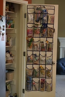 Shoe rack for hall closet organization - cleaning products, hair products and kid things like crayons on the bottom.