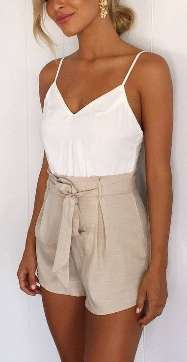 White + Beige Playsuit                                                                             Source #casualoutfits