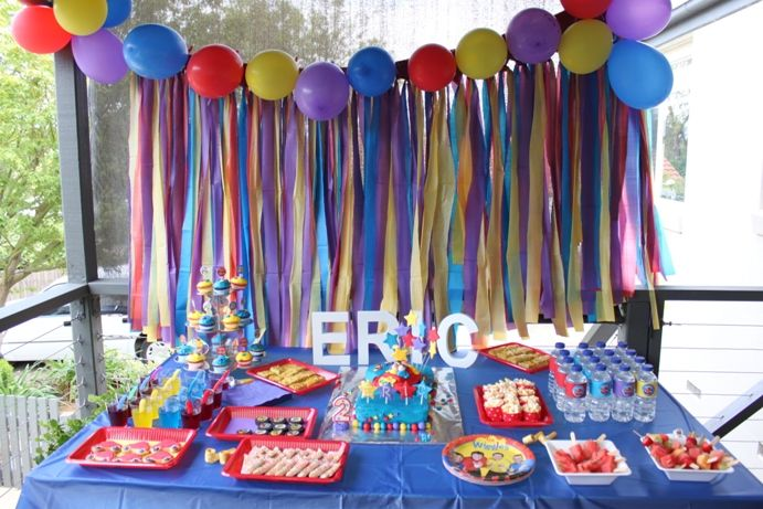 Wiggles party table! #thewiggles #wigglyparty. Love the streamers and balloons