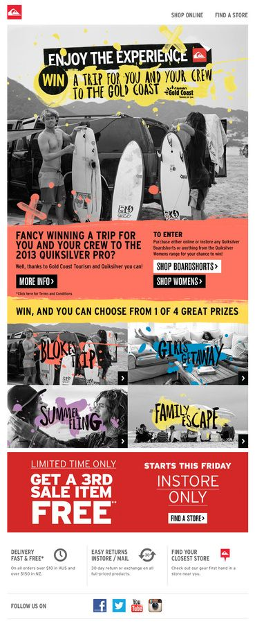 Quiksilver - WIN a Trip for You & Your Crew to the Gold Coast! — Designspiration