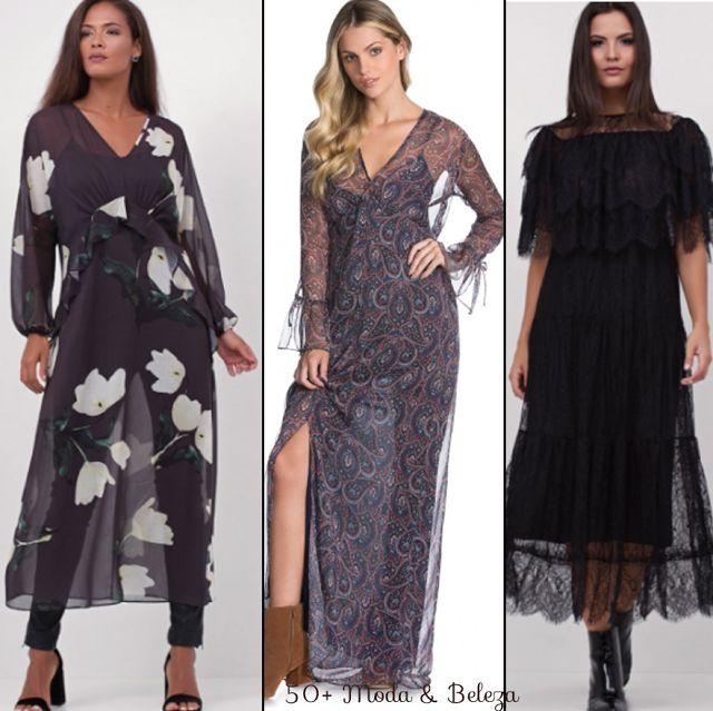 Você também vai encontrar boas opções de vestidos. À esquerda, estampado da Renner por R$159,00, no meio, proposta da Amaro a R$189,90 e à direita, outra opção Renner que na loja online já esgotou. Preços pesquisados entre os dias 8 e 9/04/17