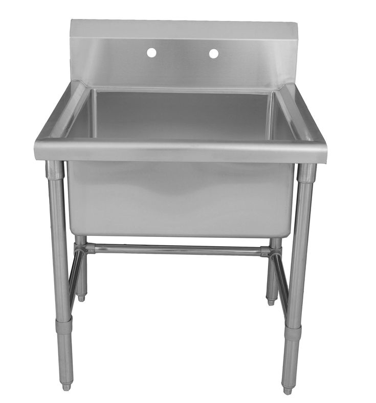 Grand Chrome Console Rectangle Laundry Sink With Four Base