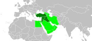 Proche-Orient — Une représentation d'un Proche-Orient (en vert foncé) à l'intérieur d'un Moyen-Orient (vert clair).