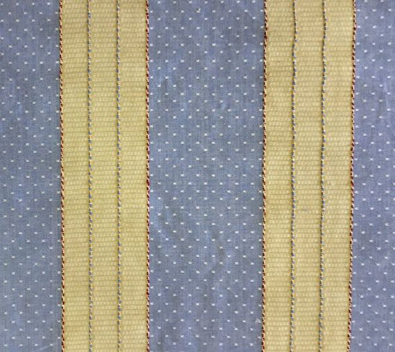 Blue And Light Yellow Stripe Upholstery Fabric By Shopmyfabrics