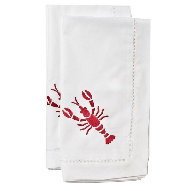 Red Lobster Dinner Napkin Beautifully embroidered, large sea life on 100% cotton. Classic hemstiched border completes the design of these cocktail napkins. Pearl Nautilus, Crab, Sand Dollar, Coral Designs.  | | Lip Service Napkins | | cheers to story telling, laugh-sharing & memory-making - Shop Retreat Napkins  Dinner Party | Wedding | Event | Vacation | Relax | Host | Planning | Table Setting | Entertaining