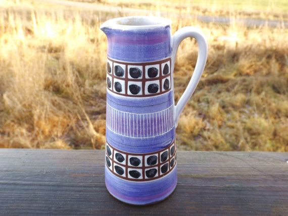 Scandinavian Pitcher Vase Purple Blue Pottery Vase by NordicAnn, $58.00