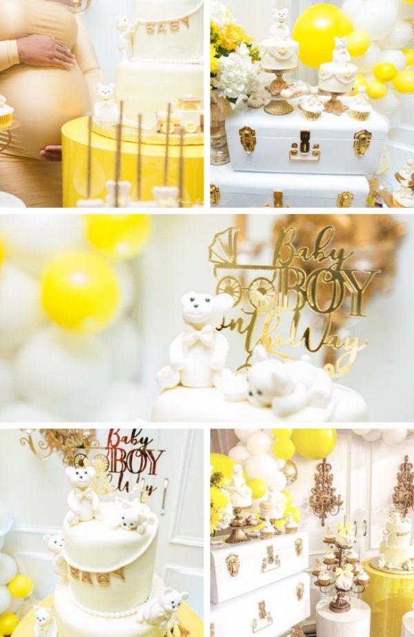 Glam Yellow And White Teddy Bear Baby Shower Teddy Bear Baby