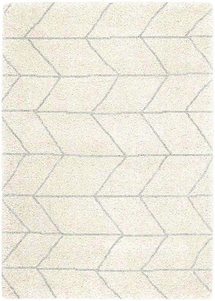 Teppich Wohnzimmer Carpet Hochflor Design LOGAN WEB UNI RUG 100 Polypropylen 120x170 Cm Rechteckig Weiss