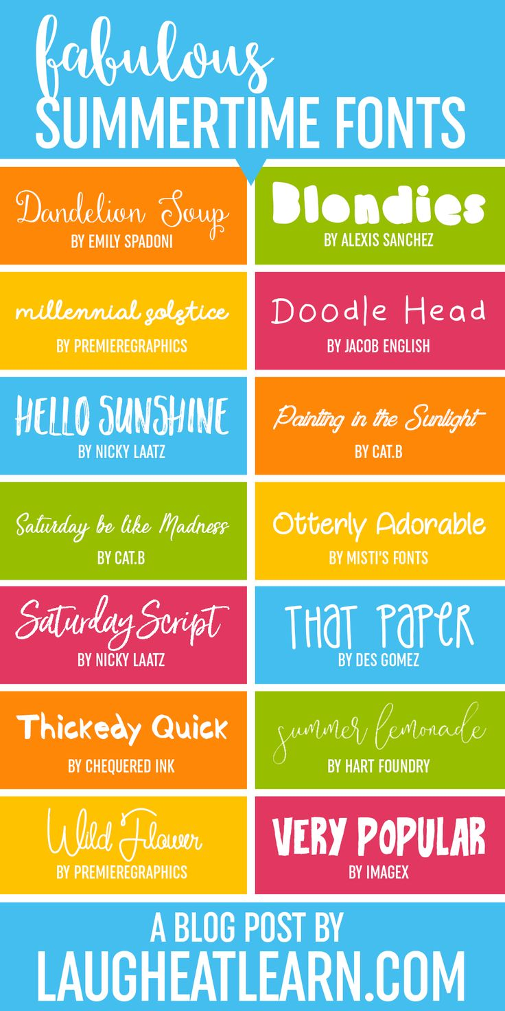 Summertime is here and I'm ready to embrace it with these fun and funky font choices! These fonts are perfect for any summer themed projects (or anytime of the year!) you are going to be working on during this bright time of the year.