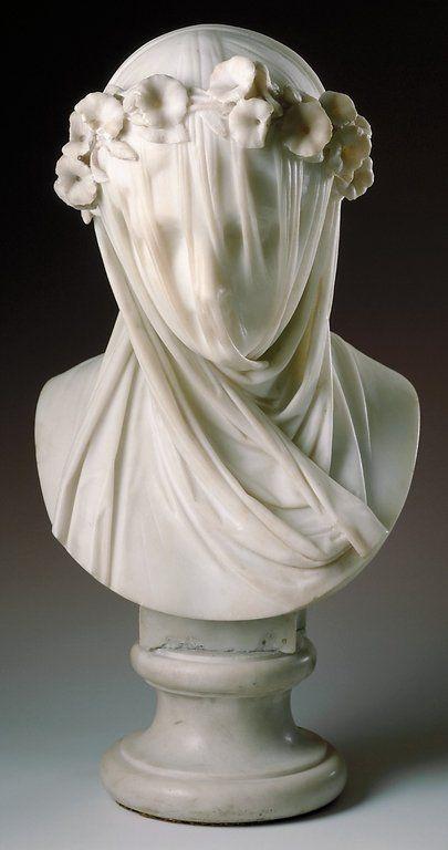 marble sculpture of veiled woman .. Raffaelo Monti