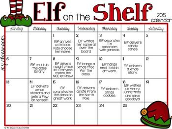 Are you getting ready for your elf to appear in your classroom??We sure love our little helpers but we also know how much work those little guys can be!I'm getting organized a few days early this year and made a calendar to keep myself on track. I hope these calendars will give you some ideas for your own elf!Thanks for visiting my store and happy holidays,Valerie