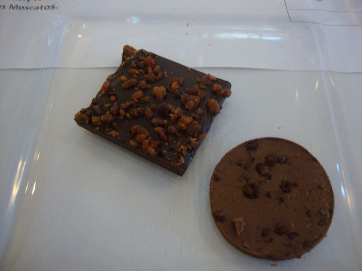 Bacon topped dark chocolate at the chocolate and wine tasting