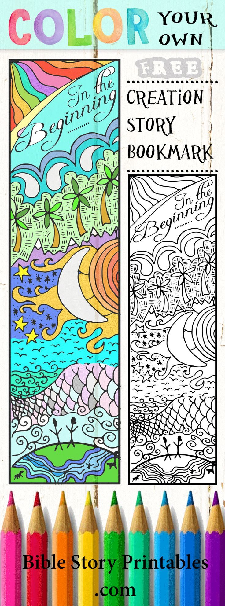 Free printable coloring pages gods creation - Color Your Own Creation Story Bible Bookmarks Http Thecraftyclassroom Com