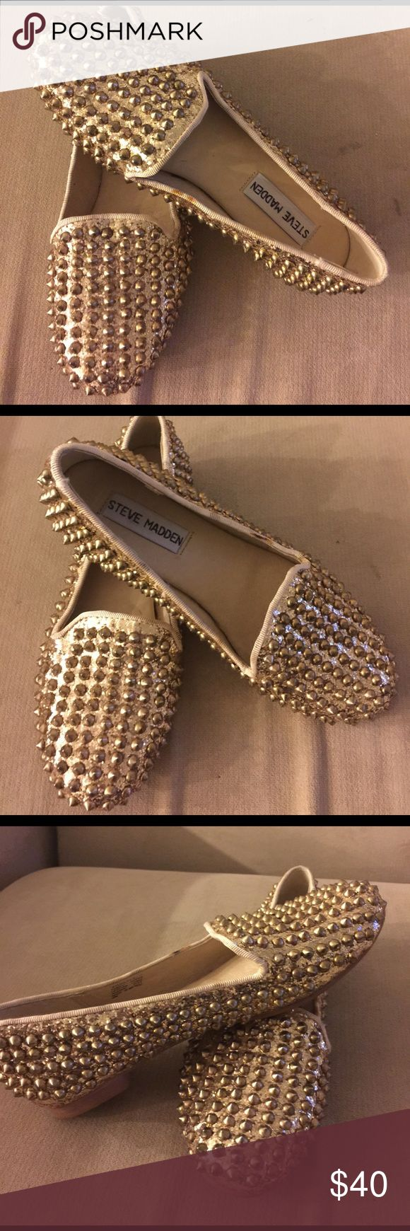 Steve Madden Leather shoe Gold Studs. Size 51/2. Steve Madden Gold  color. There are few spat of paint on the base but perfect condition. Steve Madden Shoes Flats & Loafers