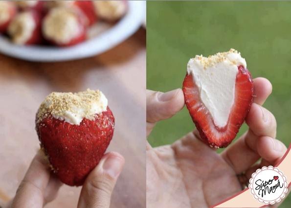 fresas rellenas de: mezcla 2 barras de queso crema y 1 lechera,, espolvoreado de nuez o al gusto