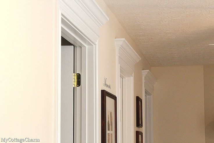 Crown molding above door for the home pinterest for Over door decorative molding