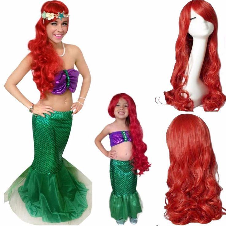 핫 패션 인어 곱슬 레드 코스프레 애니메이션 가발, 어린이 60 센치메터 파티 헤어 가발, 성인 80 센치메터 합성 머리 가발