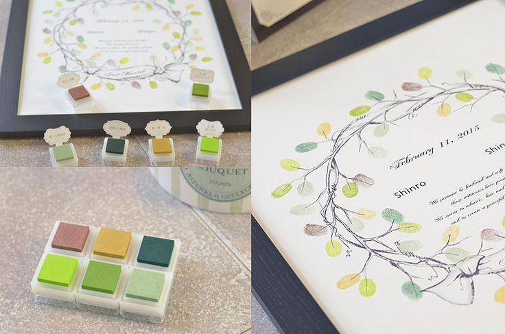 ウェディングリースデザインのウェディングツリー/作り方説明書付き。ウェディングツリーの額縁セットです。ウェディングツリーのイラスト本体と、ゲストの皆様が楽しんでツリーに捺印できるよう、スタンプの色分けに意味を込めた、お楽しみ説明書を付属しま