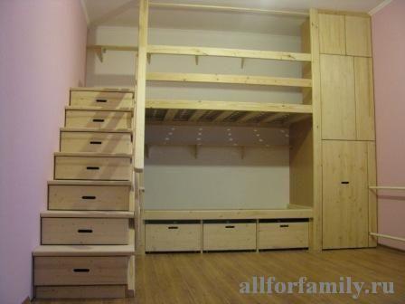 двухъярусная кровать из дерева, сделанная своими руками - фото 1, handmade wooden bunk bed for 2 kids