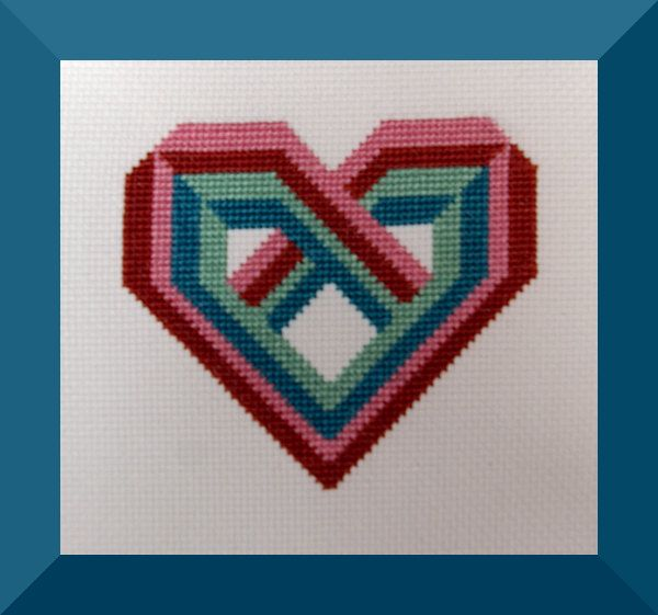 Solomon s heart cross stitch pattern color geometric