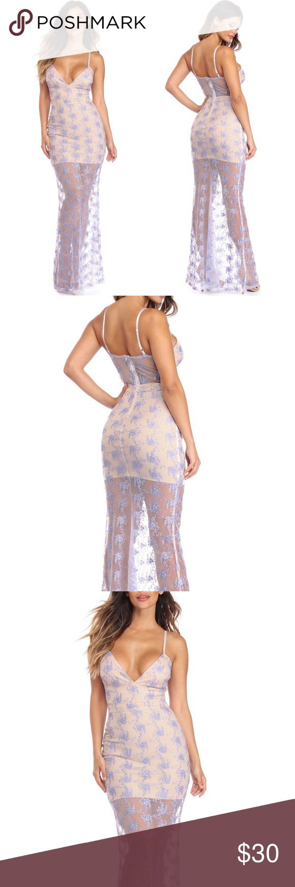 """STUNNING Embroidered Formal Dress STUNNING Composed of a delicate mesh fabric that features lavender embroidery throughout and has a sheath silhouette complete with a plunging V neckline and adjustable spaghetti straps. Perfect for any special event coming up!! True to size. Head turner! 🔥 Perfect as a PROM DRESS, HOMECOMING DRESS, GRADUATION DRESS, FORMAL EVENT.  Approx. 55"""" side seam (Measured from underarm to hem of garment.) 100% Polyester Windsor Dresses"""