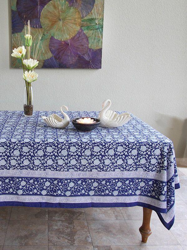 Blue tablecloth, Banquet tablecloth, Floral tablecloth, Asian tablecloth, Oriental tablecloth
