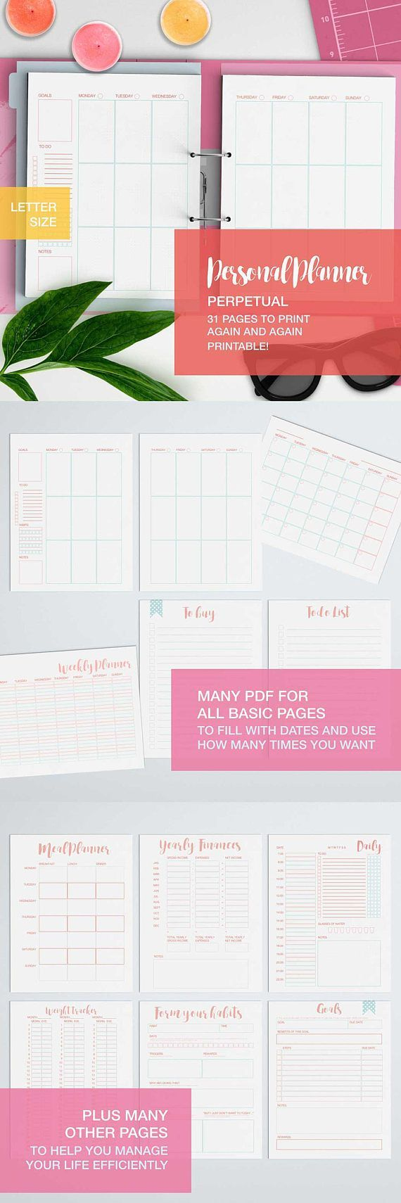A new, completely reworked personal planner that now focuses much more on goals settings and reviews! With its 31 different PDF to be printed every time you want it contains everything youll need to lead an ordered and meaningful life where you get at a glance what its really important for you! It includes an habit forming template, a Time-square to help you sort out your priorities and goals planner, chores planners, and daily expense trackers and yearly budget and so and so on...