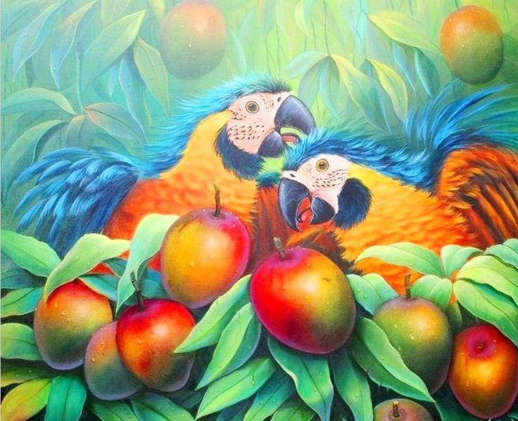Jose Moreno ( Bolivia )  Pinturas al Óleo: Paisajes de la Selva, Aves