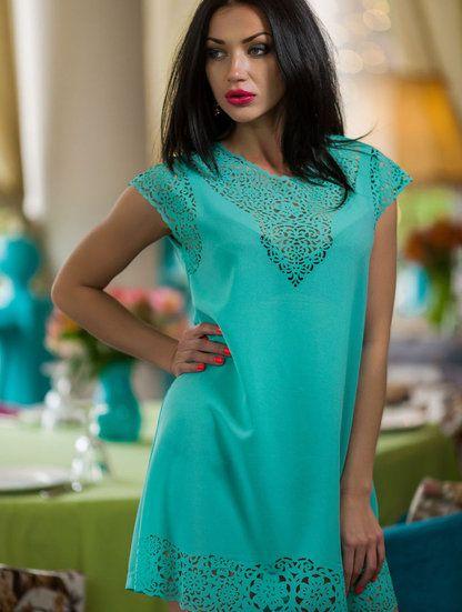 Летнее платье-туника мятного цвета, фото 1