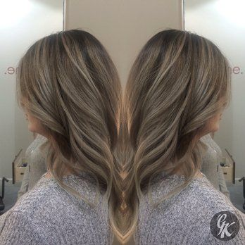 Painted highlights and lowlights to create this dark ash beige color by Georgia K. Hairbygk.com - Yelp
