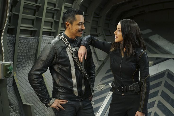 "Gabriel Luna (Robbie Reyes / Ghost Rider) and Chloe Bennet (Daisy Johnson) #Marvel Agents of S.H.I.E.L.D. #AoS #AgentsofSHIELD 4x22 ""World's End"" #bts"