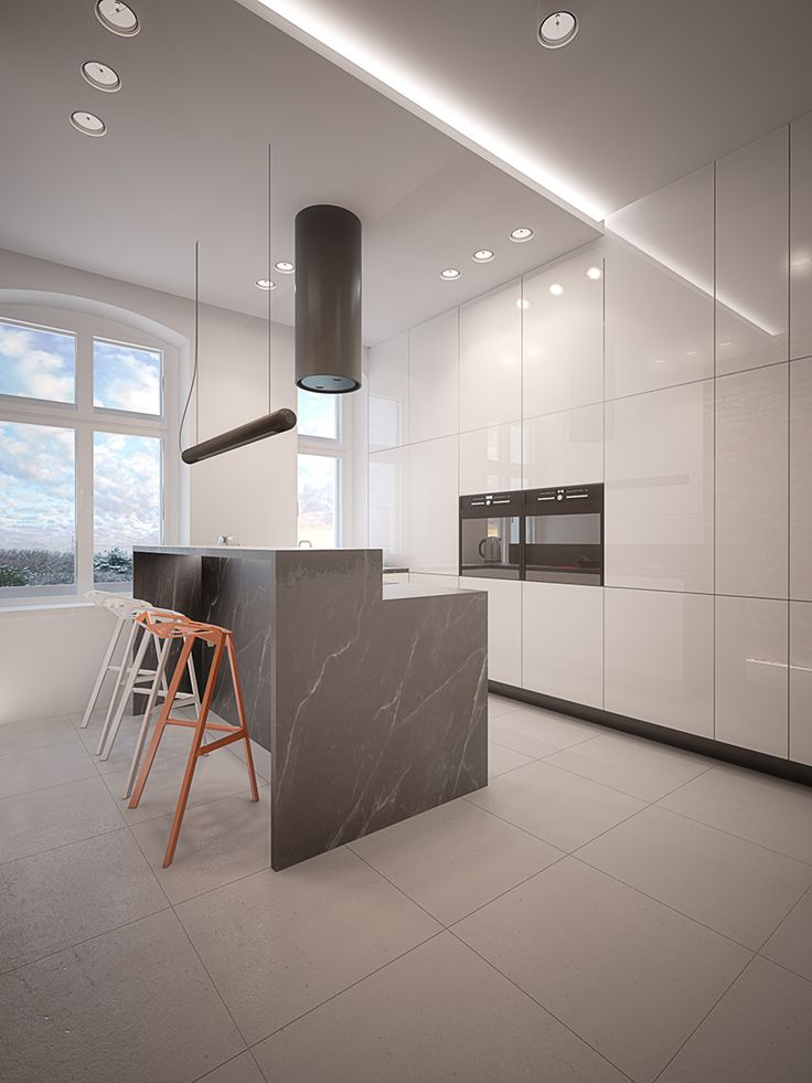 Black and white kitchen design in Gliwice, POLAND - archi group. Kuchnia w mieszkaniu w Gliwicach.
