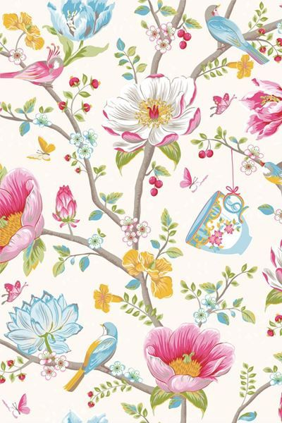 Show details for Chinese Garden wallpaper white