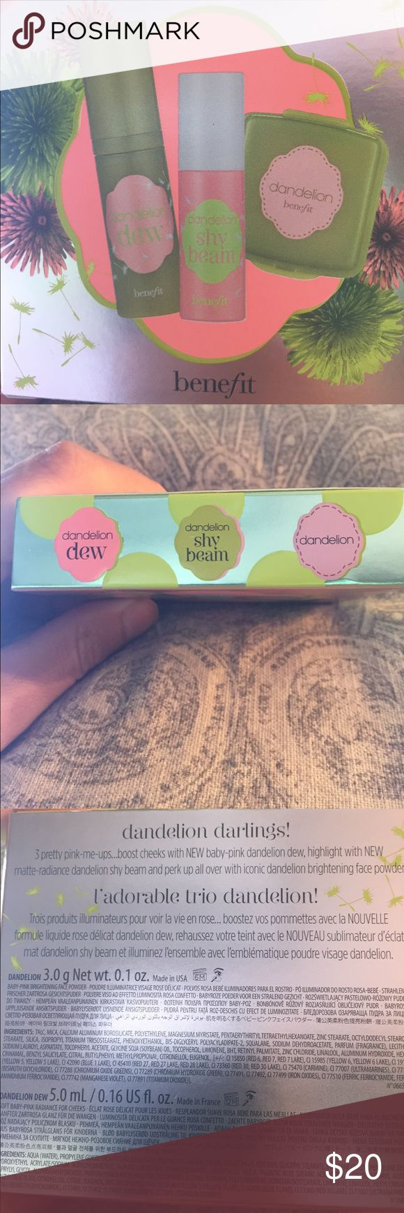 BENEFIT DANDELION TRIO W 2 NEWLY ISSUED PRODUCTS! NO TRADES THANKS! BNIB is a BENEFIT DANDELION TRIO W 2 NEWLY ISSUED PRODUCTS! All purse or travel sizes - try all 3 types of this BENEFIT famous pretty pink pick-me-up to find a favorite or layer all 3! Perk up with ICONIC Dandelion brightening face Powder (3.0 g size), use NEW baby pink Dandelion Dew  in pump form to boost cheeks radiance (5 ml) - a lil dab will do ya! Finish with a brush of NEW Matte-radiance Dandelion Shy Beam (2.5 ml)…