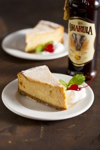 Amarula Cheese Cake << I LOVE Amarula! Its the only booze I can drink a lot of.  From South Africa, monkeys and elephants are a hilarious sight after getting drunk on the fallen, fermented fruit.  Maybe I am too ...