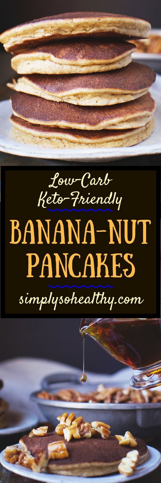 LOW-CARB BANANA NUT PANCAKES-BLENDER RECIPE - These Low-Carb Banana Nut Pancakes taste like banana bread, but can be made in a flash. Even though they taste like banana, these pancakes can be part of a low-carb, keto, Atkins, diabetic, gluten-free, grain-free, and Banting diet.  #lowcarbrecipe