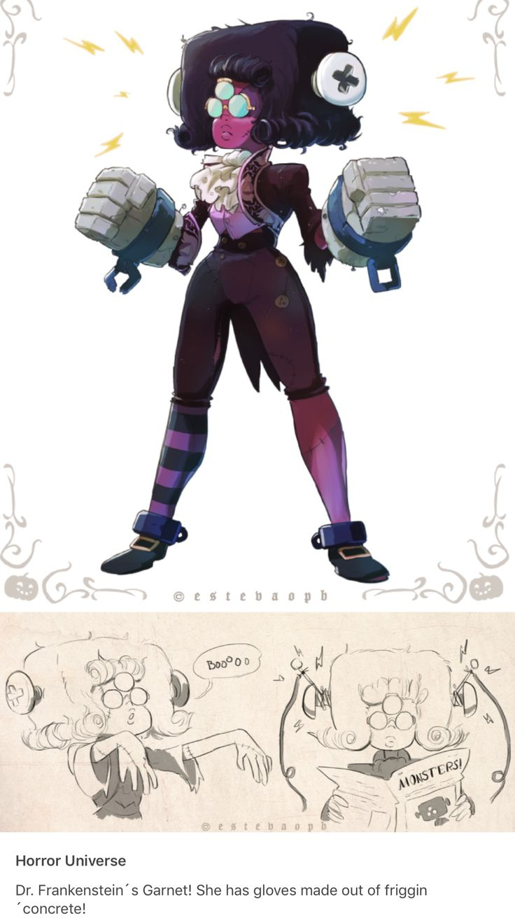 """I JUST MENTIONED THIS! Lauren Zuke """"made"""" and AU where Garnet is a """"Garnetstein"""". In a description of a fan art where Ruby and Sapphire were the scientists who created Garnestein, I thought of her AU and thought it was cool! I love how more than three people would see Garnet as Frankenstein"""