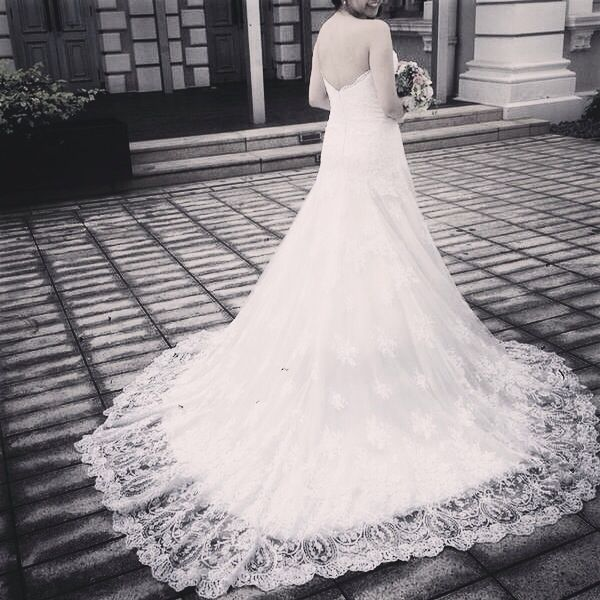Claire's Wedding gown - fit & flair with lace