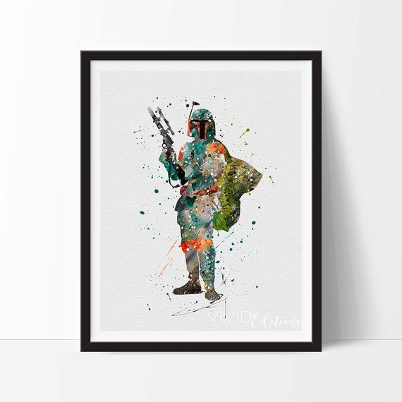 Star Wars Poster, Boba Fett Walker Watercolor Art Print, Nursery, Kids Bedroom Decor Baby Room, Christmas Gift Wall Art Not Framed, No 16