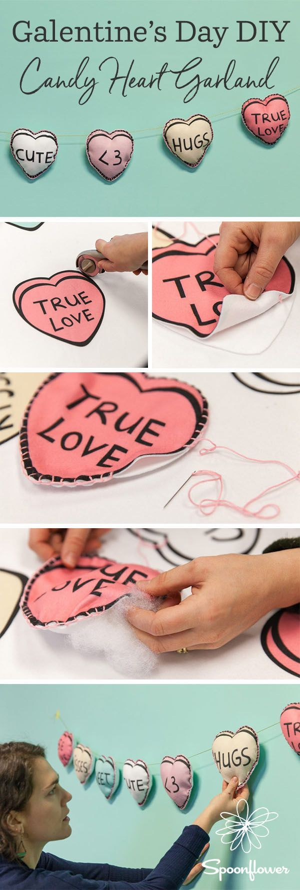 This DIY Candy Heart Garland is Galentine's Day Approved - Make these easy DIY Fleece hearts for Galentine's Day or Valentine's Day!  All you need is some fleece fabric from Spoonflower, scissors, needle and thread to make your own custom printed heart garland.  Click to see all the steps including how to make a blanket stitch around the edges.  #valentinesdiy #valentinesday #diy #easydiy #hearts #candyhearts #galentinesday #fleece #sewing #sew #party #diyparty