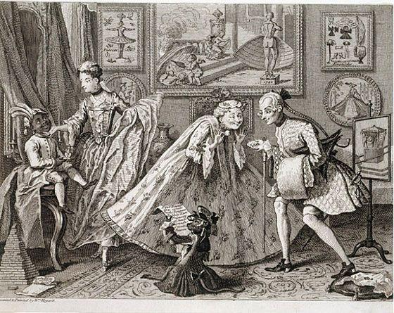 """Taste in High Life"",1746 William Hogarth http://georgianromancewriter.blogspot.co.uk/"