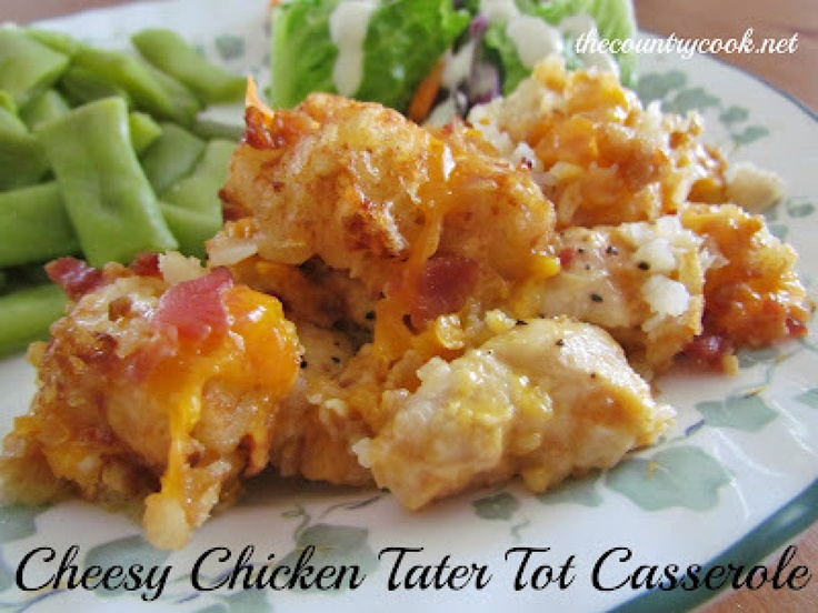 Cheesy Chicken Tater Tot Casserole {Slow Cooker}...this caughy my eye at Cheesy..had me at tater tot and won me over at slow cooker. So not healthy-but maybe a good meal for a night when kids are home alone with dad! :)
