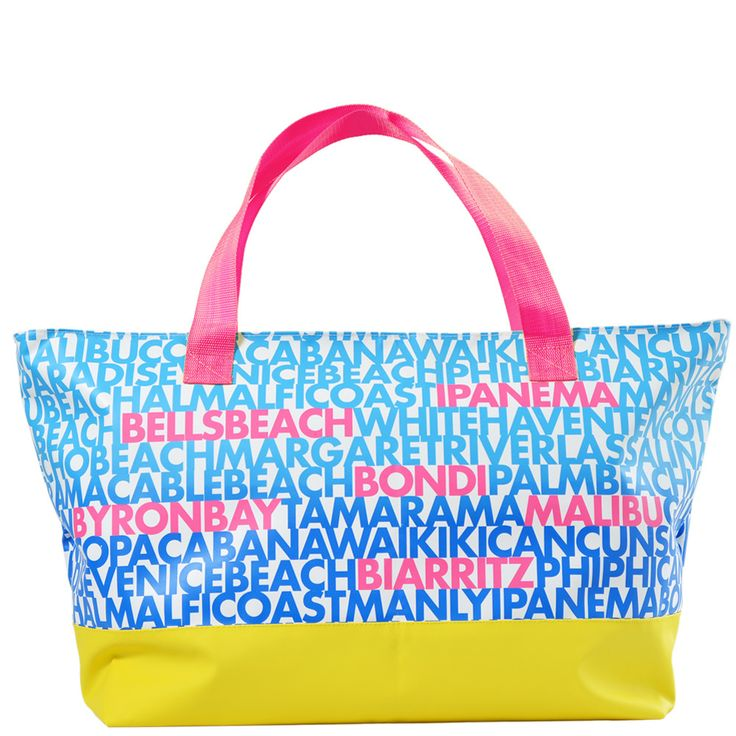 Washable, hose-able waterproof giant beach bag that is awesome. It is a huge beach bag with a waterproof transparent pocket for your phone and keys.  Famous beaches from Australia and around the world.