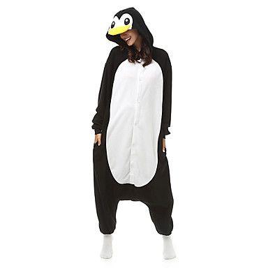 volwassen penguin onesie fleece pyjama cartoon nachtkleding dier halloween kostuum unisex 2016 – €34.29
