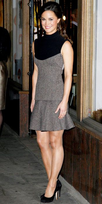 Pippa Middleton ~ With a sweet black and grey dress and Suede